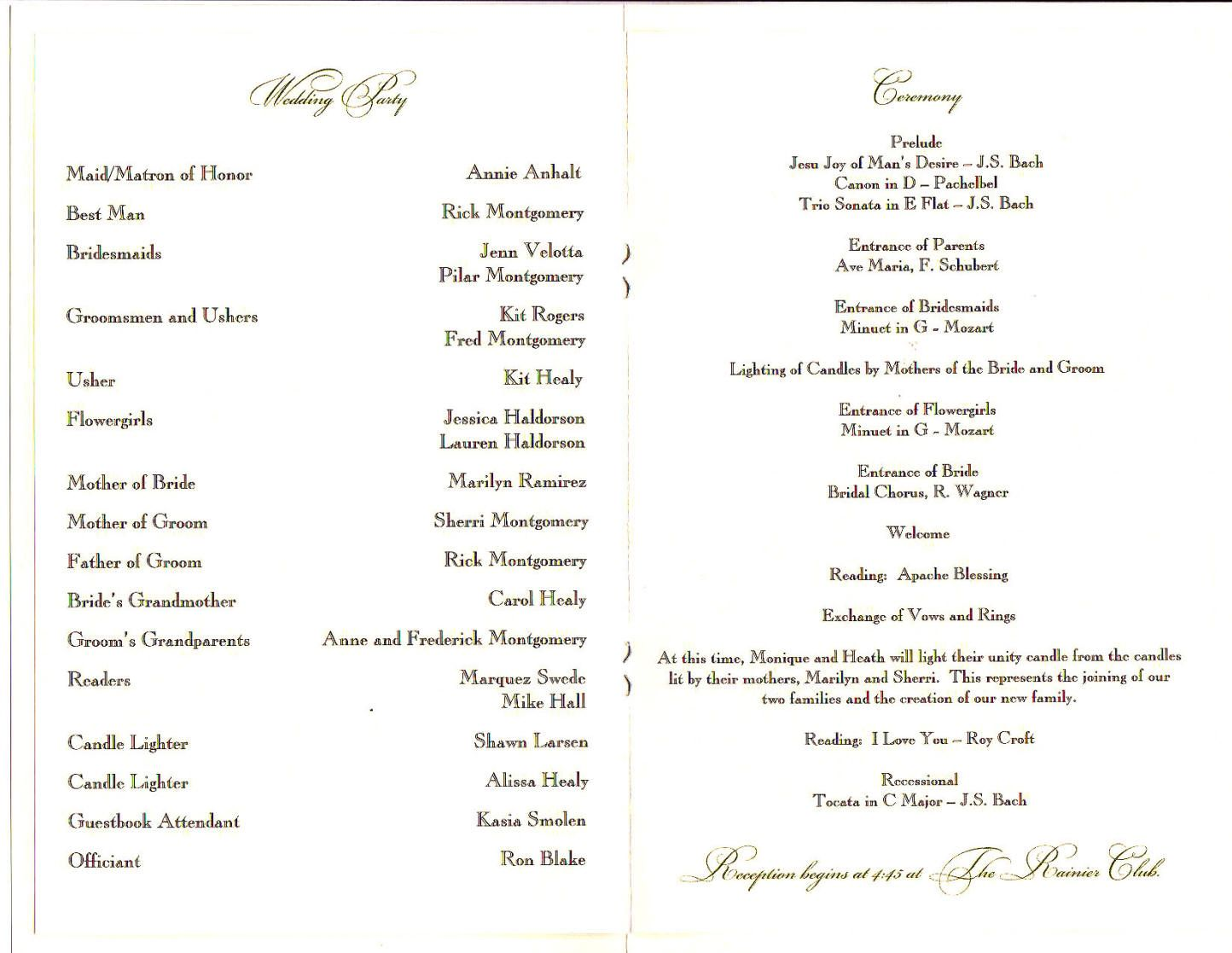 wedding party program