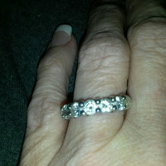 Sterling ring Sterling band/cz stone Jewelry Rings