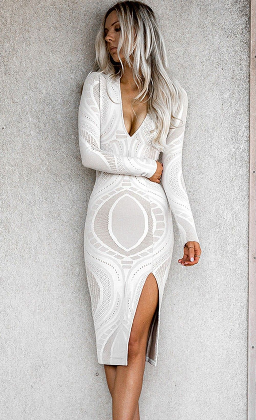 Lace Long Sleeve Deep V Neck Midi Bodycon Dress White Lace Midi Dress Fashion Summer Trends Outfits [ 1635 x 1000 Pixel ]
