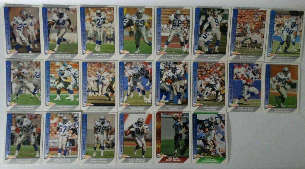 1991 pacific seattle seahawks team set of 22 football