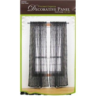 "50"" x 84"" Black & White Zebra Flocked Organza Decorative Panel Rod Pocket 