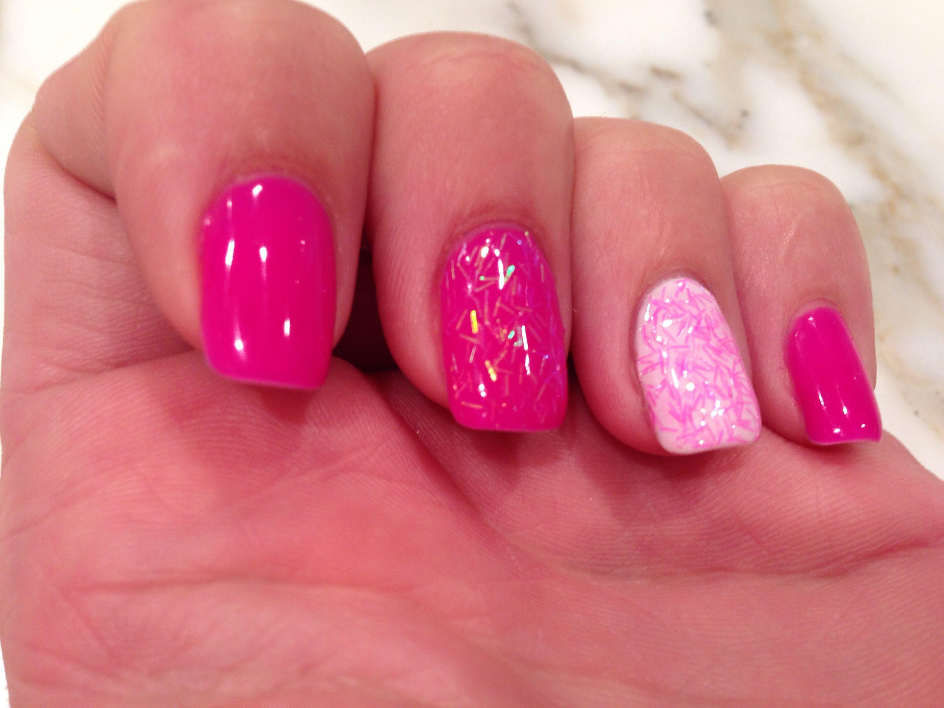Bright pink nail art Addictive shellac gel Neon Pink