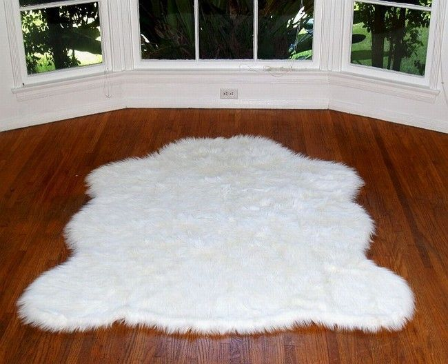 Long Pile Faux Fur Artic Polar Bear Rug White Truly Exotic With