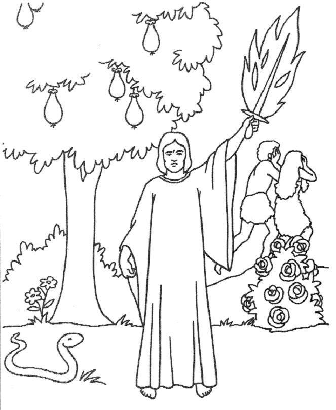 Expelled From The Garden Of Eden Sunday School Coloring Pages