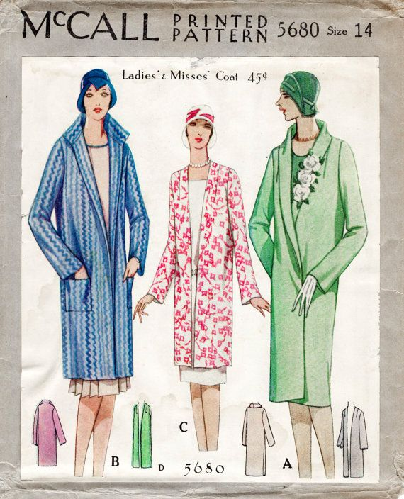 Reproduction 1920/'s Frocks and Coats Vintage French Sewing Pattern