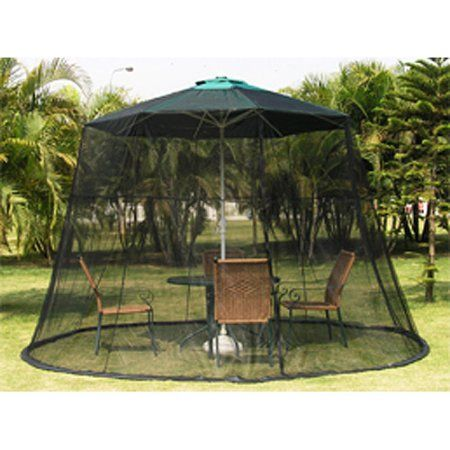 Black Universal Weighted Mosquito Net For 9 Foot Patio Umbrella Walmart Com Patio Umbrella Patio Fire Pit Patio