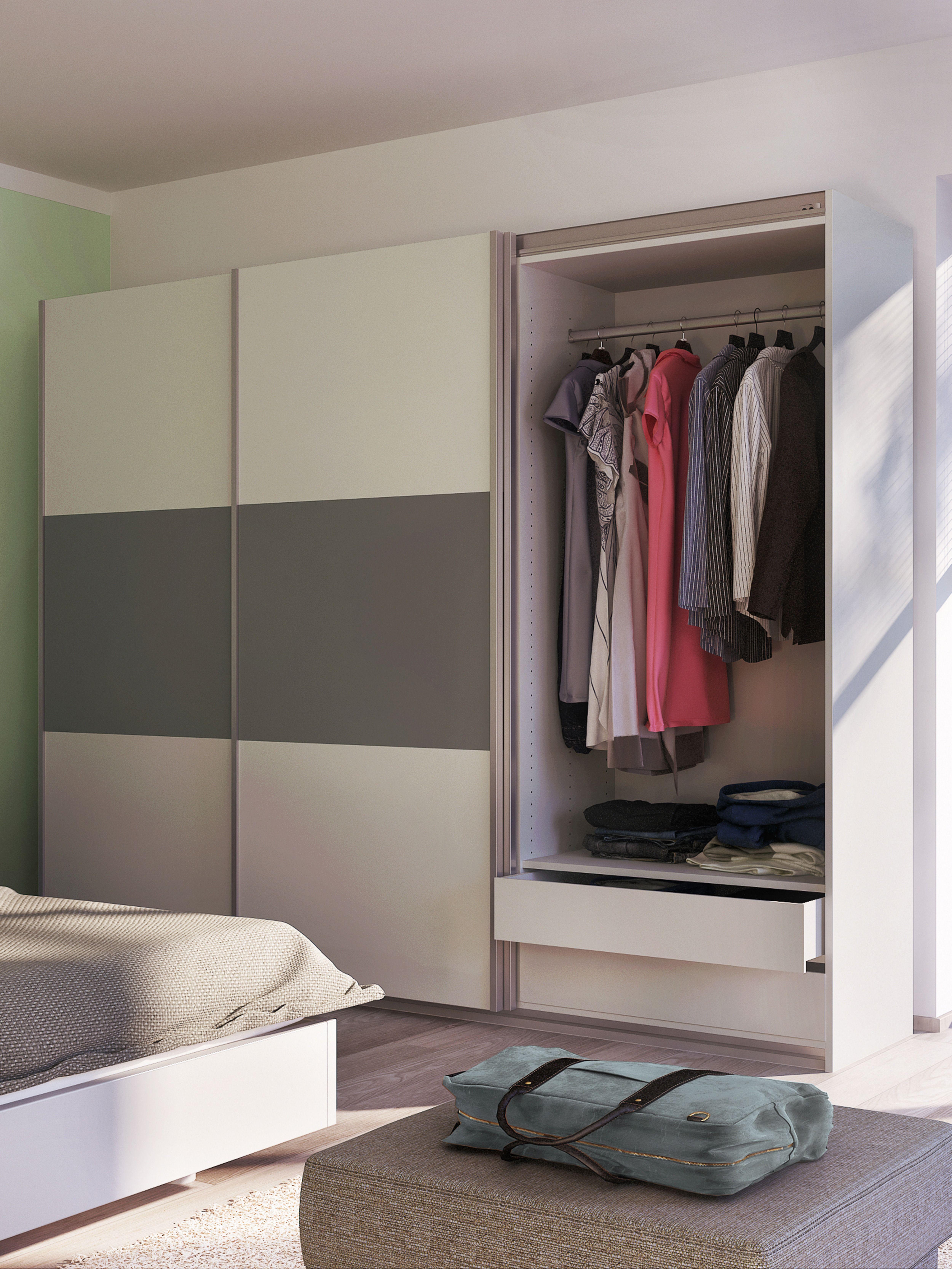 Schlafzimmer Raumsparender Kleiderschrank mit Schiebetüren