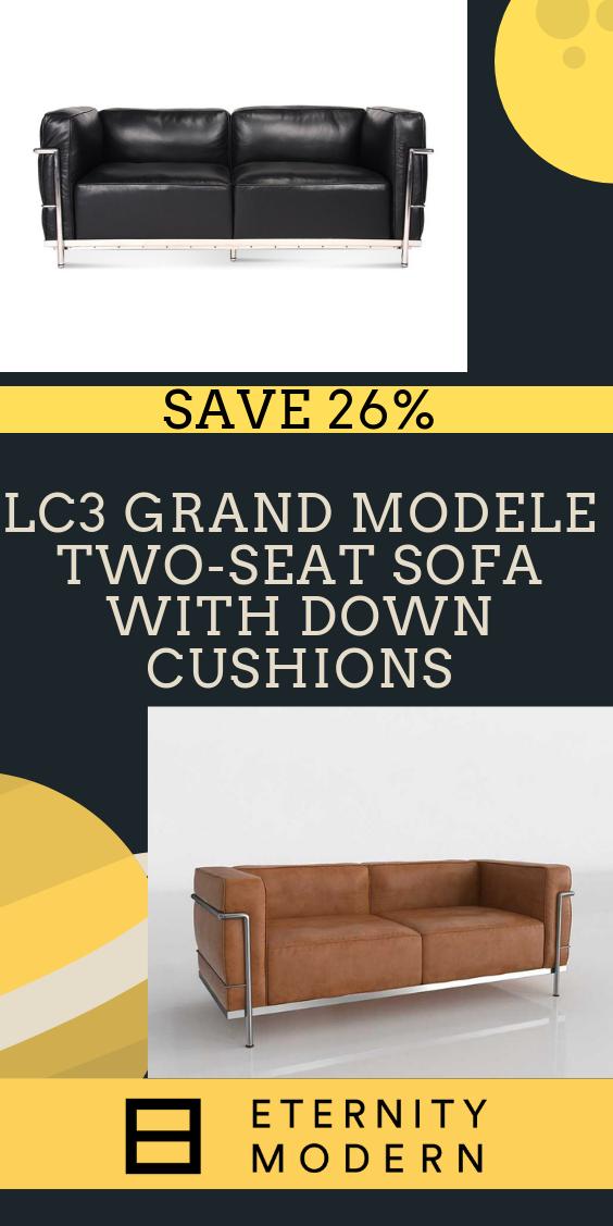 Lc3 Grand Modele Two Seat Sofa With Down Cushions Cushions Club