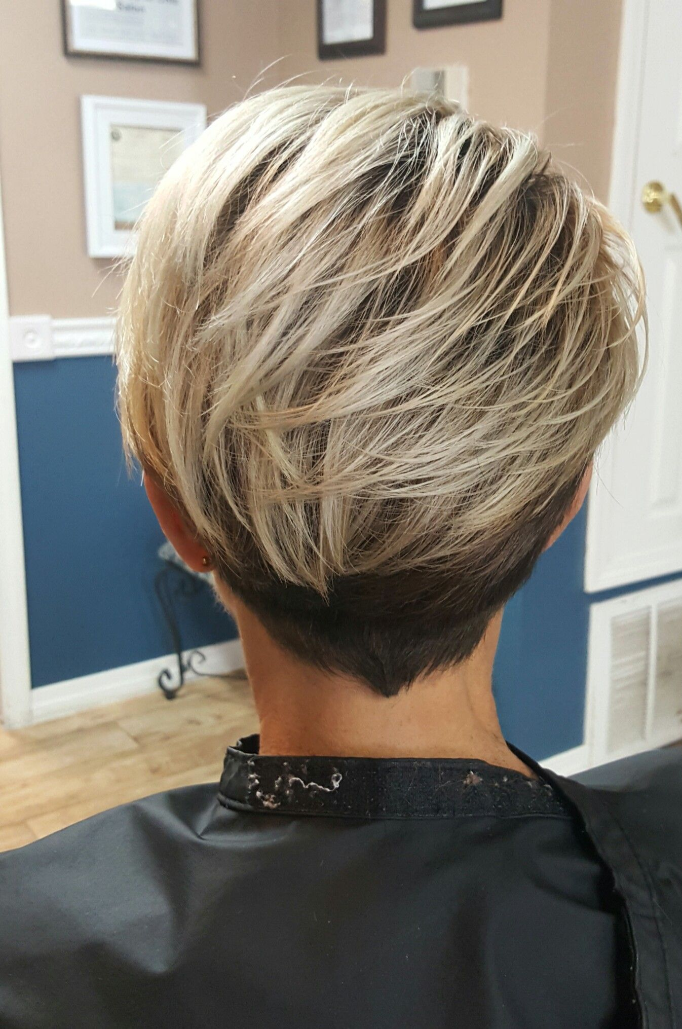 Platinum Color Melt With Shadow Root On Modern Pixie Short Hair