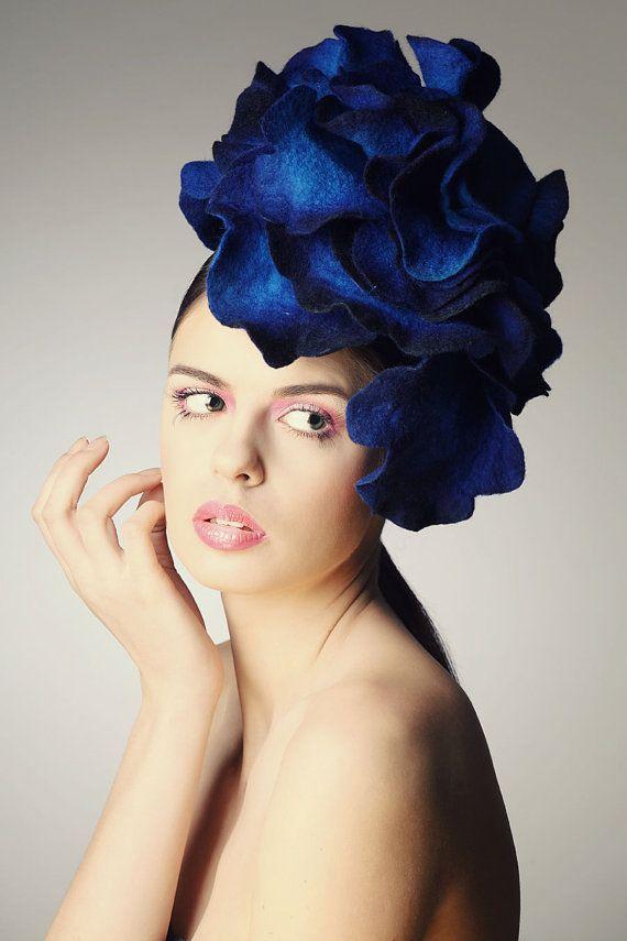 Bright Blue Rose Fascinator Hat With Merino Wool Silk Fibers And Chiffon