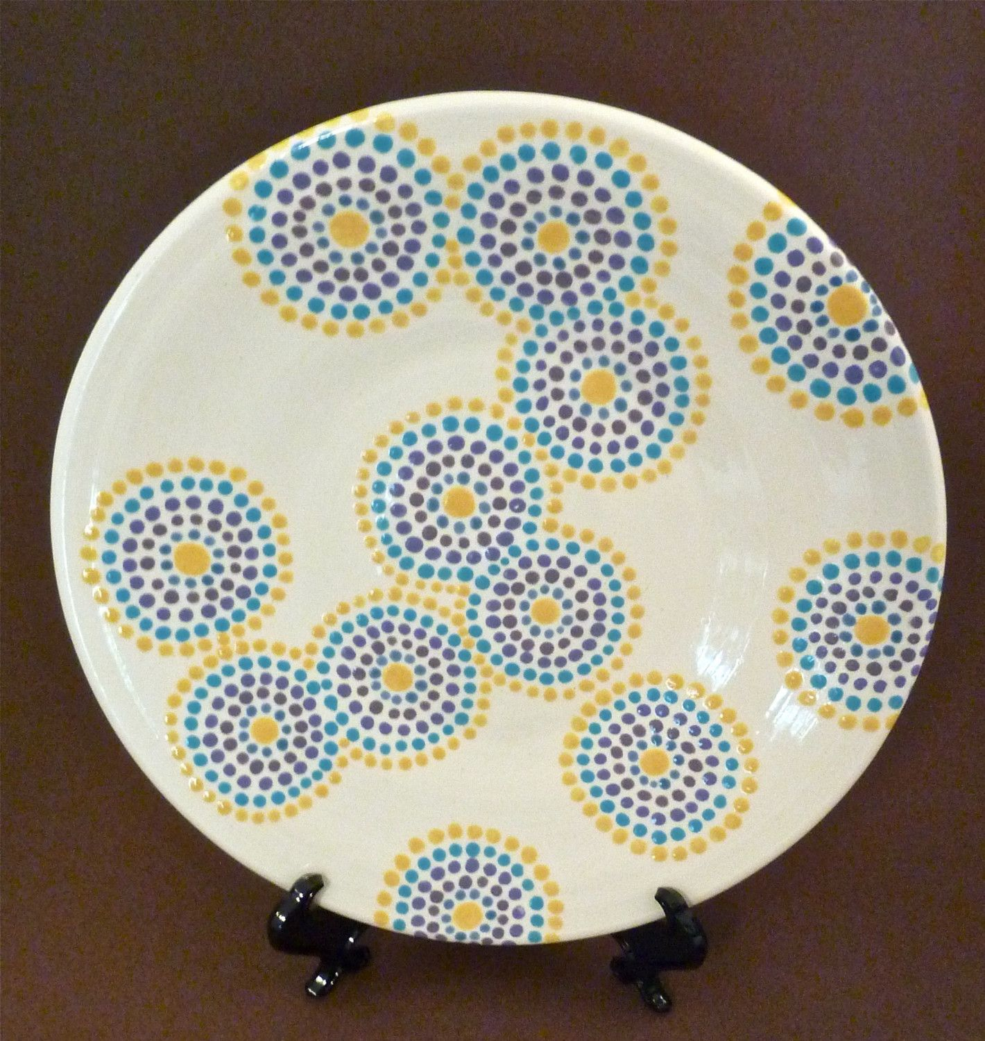 Dotty circles plate pottery painting ideas pinterest for How to make ceramic painting