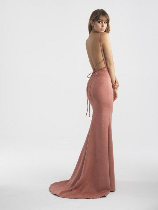 BACK VIEW- Madison James 18-713 Backless Suede Prom Dress | Madison ...