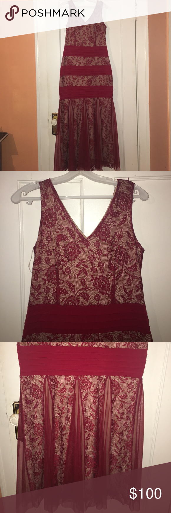 NEVER WORN BRAND NEW RED LACE EVENING GOWN! Beautiful red evening gown. The red lace had nude colored slip behind it. Goes into a mermaid style bottom provides great coverage so you can wear a normal bra. Fits well can stretch, tags still on never worn !!! Material is stretchy!!!! Best offer will work too candalite Dresses Prom