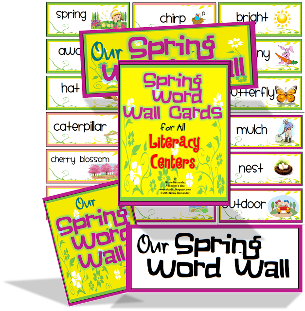Spring Word Wall - so many words - illustrated! $ #spring #esl ...