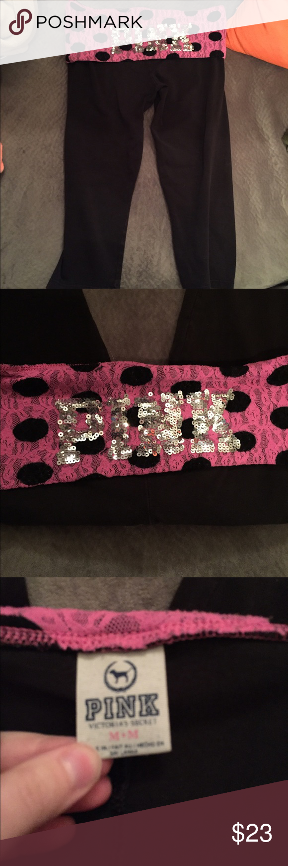 VS PINK bling cropped yoga Medium good condition. PINK Victoria's Secret Pants Ankle & Cropped