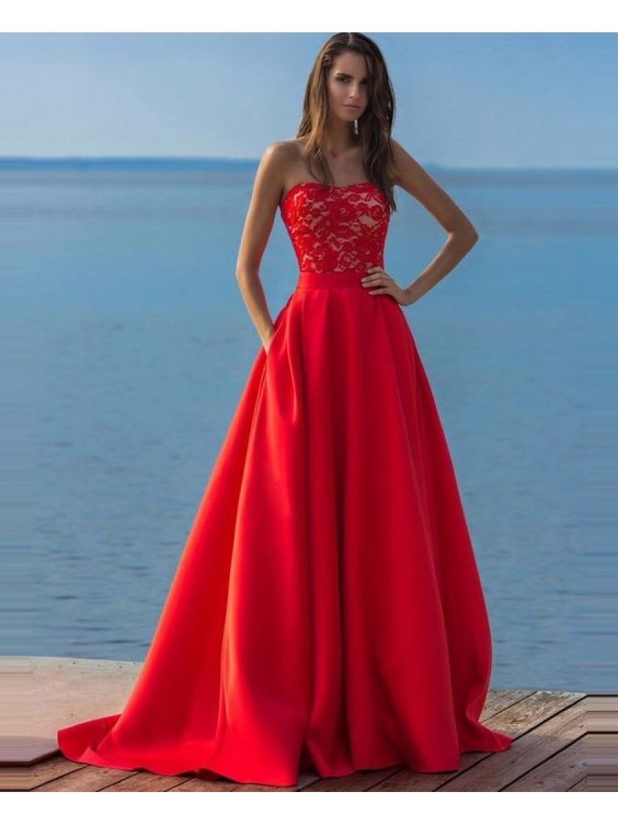 Long red lace strapless prom formal evening party dresses