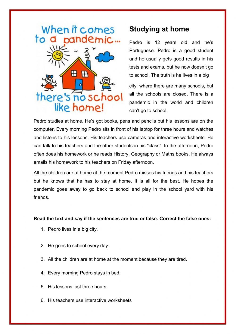 Studying at home - Interactive worksheet in 2020 | Reading ...