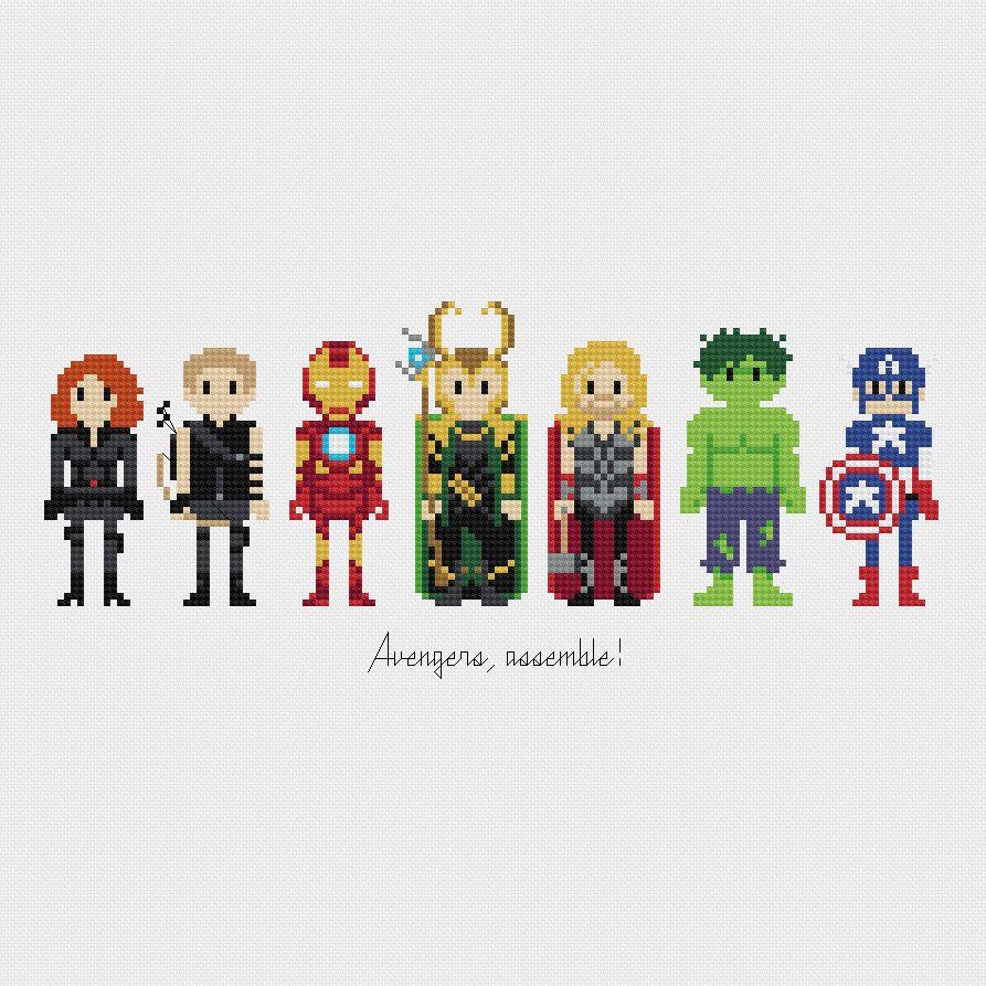 Avengers, Assemble! Cross Stitch Pattern PDF Instant Download par pixelsinstitches sur Etsy https://www.etsy.com/fr/listing/196768509/avengers-assemble-cross-stitch-pattern