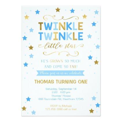 Twinkle Twinkle Little Star Birthday Invite Boy Card - birthday