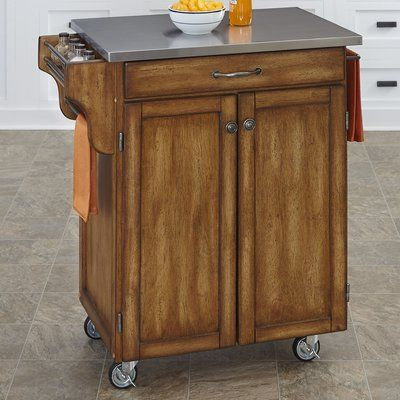 Best August Grove Savorey Kitchen Cart With Stainless Steel Top 400 x 300