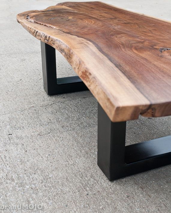 Vintage Industrial Live Edge Walnut Slab Coffee Table: Live Edge Walnut Coffee Table Steel Base Nakashima Style