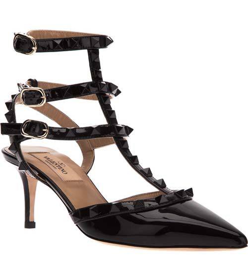 Valentino Rockstud All Black Patent Leather Slingbacks