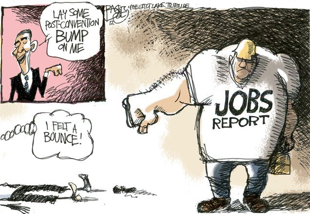 """""""Obama bump""""  This Pat Bagley editorial cartoon appeared in The Salt Lake Tribune on Sunday, Sept. 9, 2012."""