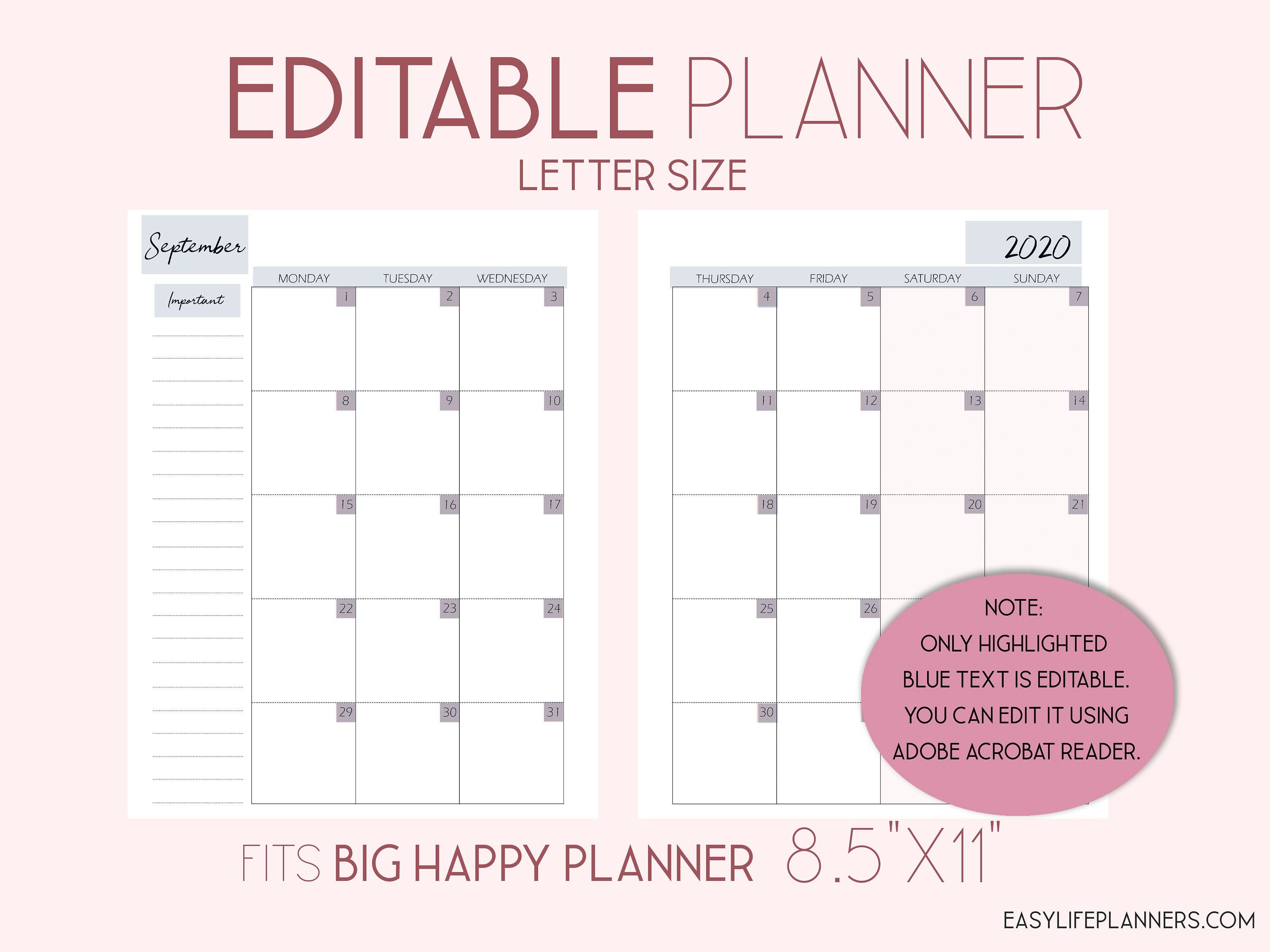 Editable Planner 2020 Monthly Planner Pages Monthly Layout Made
