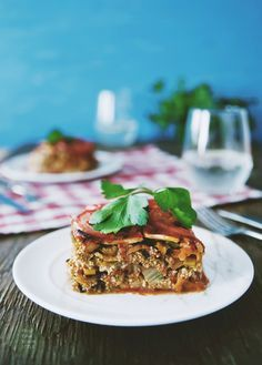 Celeriac lasagne. #vegan Thin celery root slices, layered with mixed vegetables, rich tomato sauce and broccoli pesto. Delish