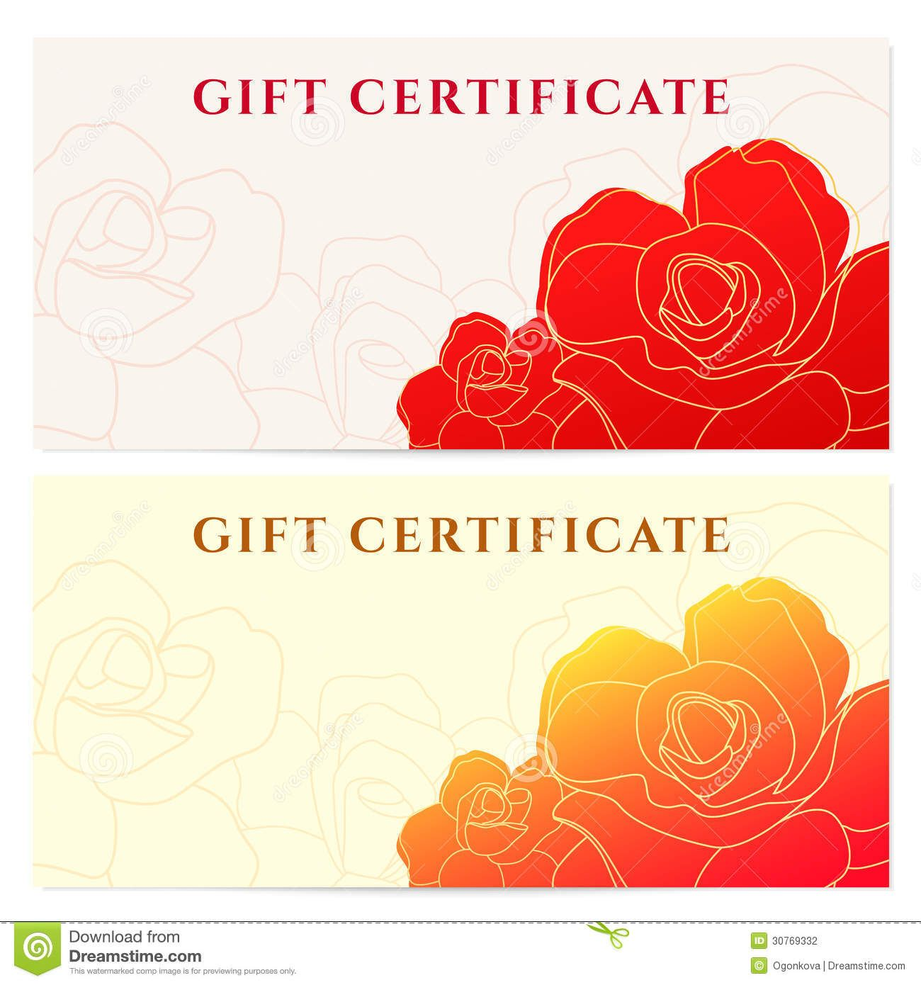 Gift Certificate Voucher Template Flower Pattern Stock Photography