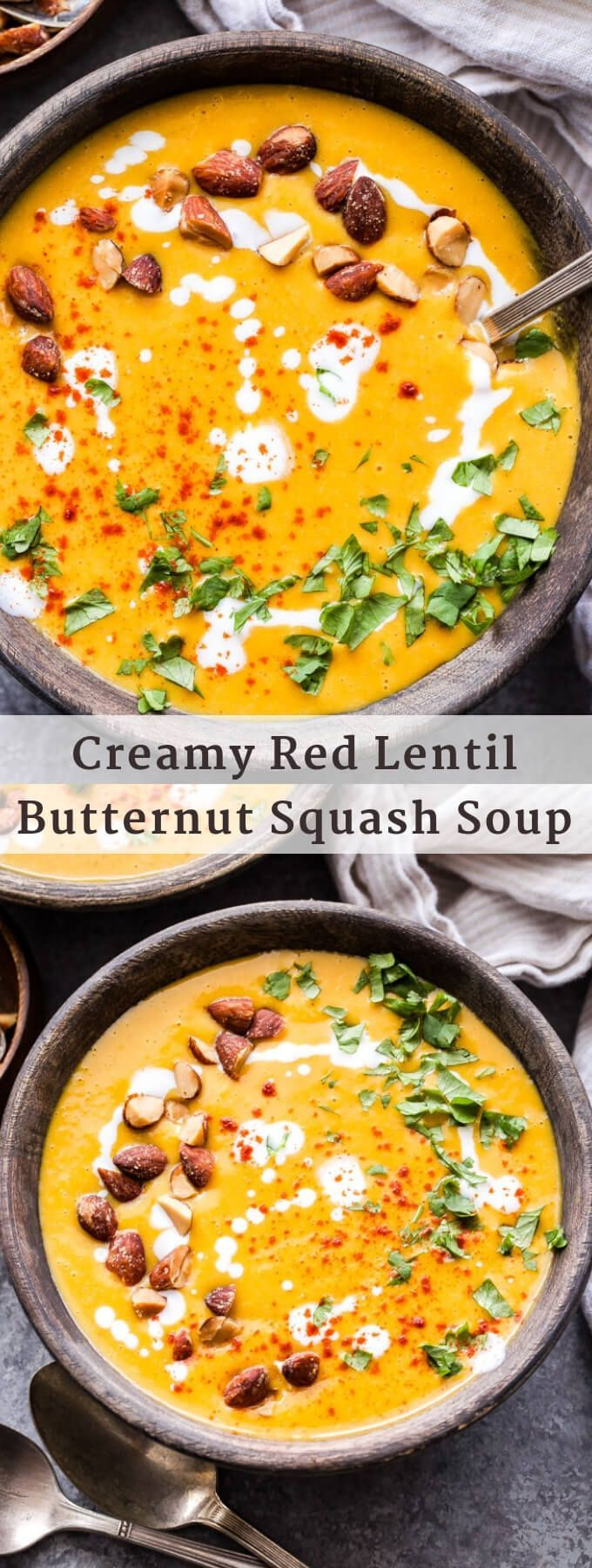 This Creamy Red Lentil Butternut Squash Soup is a healthy and delicious vegetarian meal that's packed with protein and nutrients! Top it with smoked almonds, cilantro and a drizzle of Greek yogurt for an easy weeknight dinner. #soup #lentils #butternutsquash #vegetarian #easyrecipe #healthydinner #butternutsquashsoup
