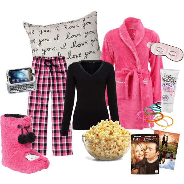 3aeb32596 Girls' night in. | Polyvore Creations | Sleepover outfit, Pajama ...