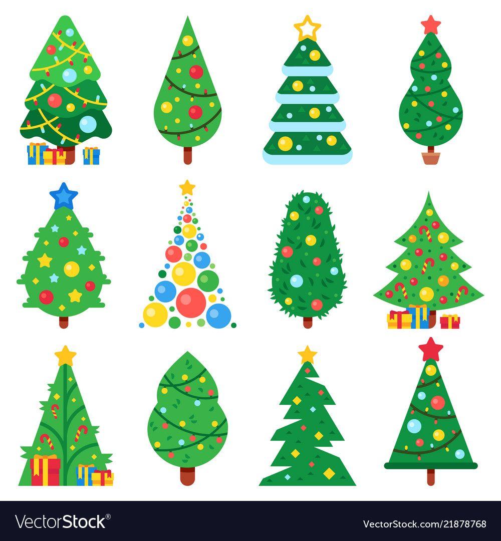 Flat Paper Christmas Tree Winter Holidays Trees Vector Image On Vectorstock Paper Christmas Tree Christmas Tree Set Christmas Tree Decorations