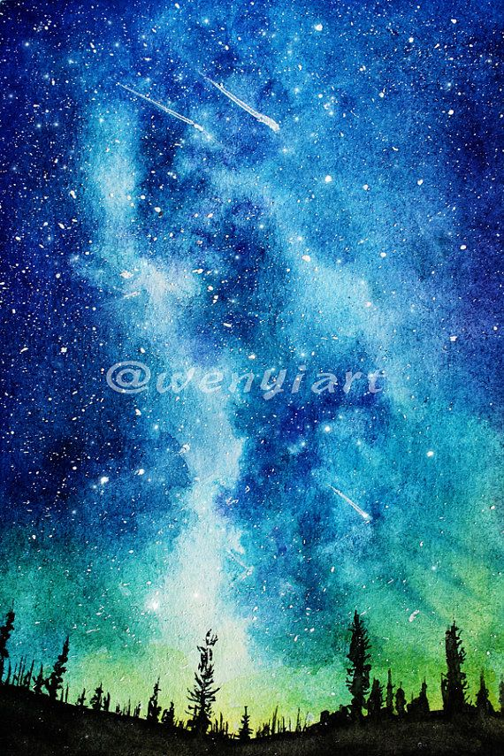 starry night handpainted watercolor galaxy digital image 300dpi