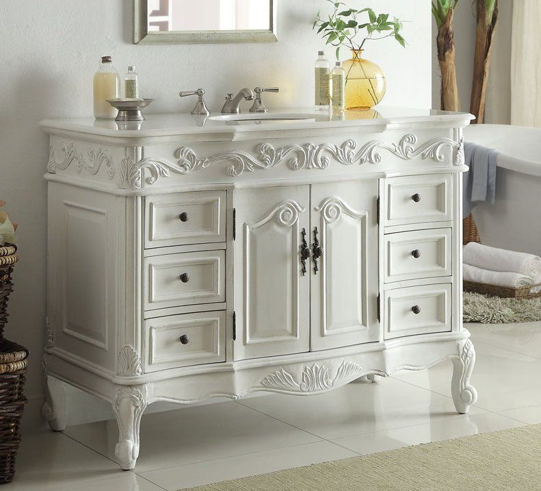 Dimensions 48 25 X 22 X 36 Quot H Approx The Antique White Beckham Bathroom Vanity Has Classic