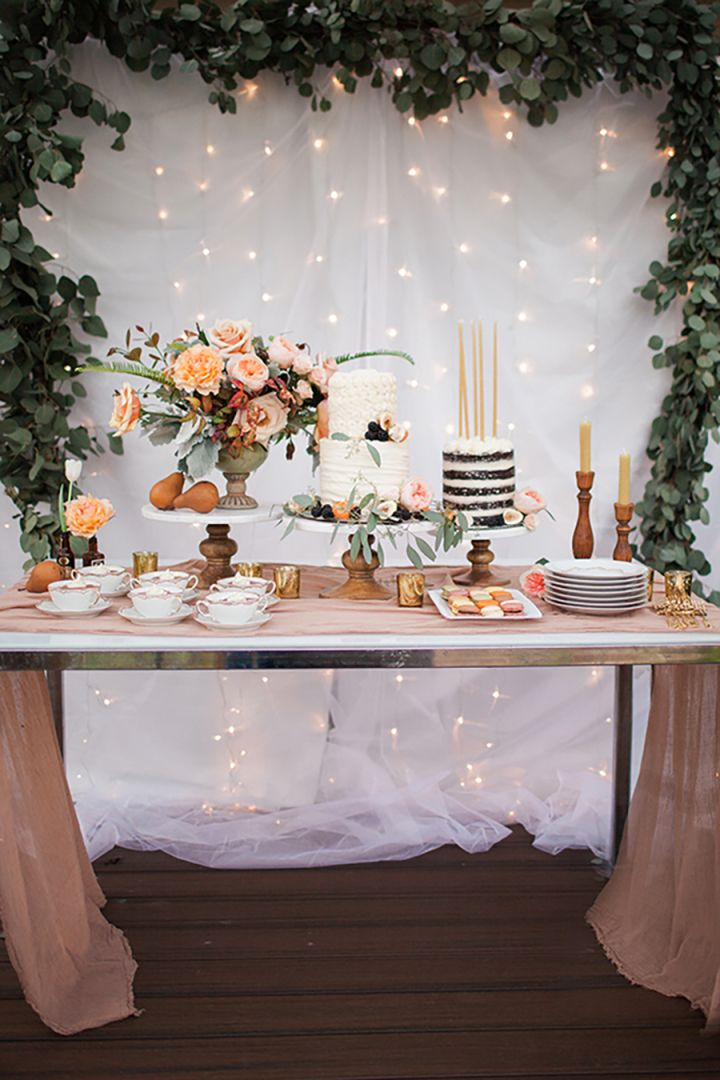 Wedding Cake Table Idea With Beautiful Fabric Draping Backdrop