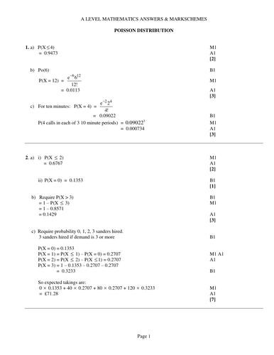 Solutions Poisson Distribution DOC Statistics