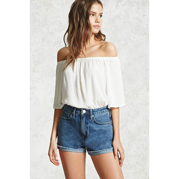 Forever21 Off-the-Shoulder Gauze Top ($7.90) ❤ liked on Polyvore featuring tops, white, bell sleeve tops, white boxy top, white top, white gauze tops and off shoulder tops