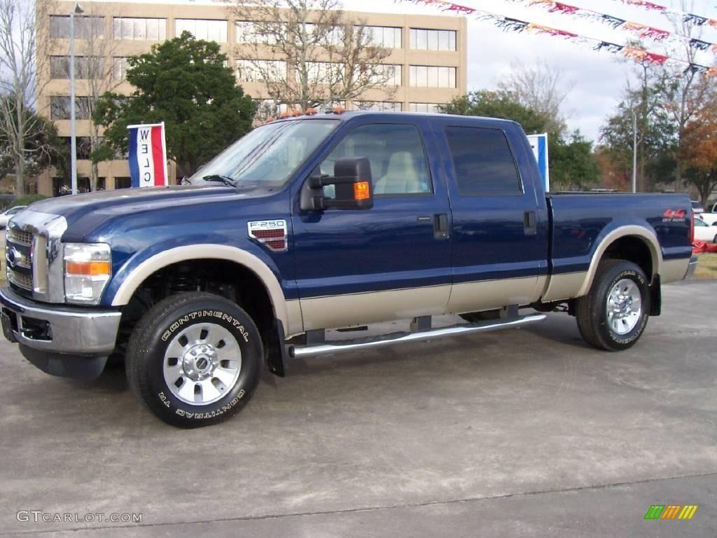 2008 Dark Blue Pearl Metallic Ford F250 Super Duty Lariat Crew Cab