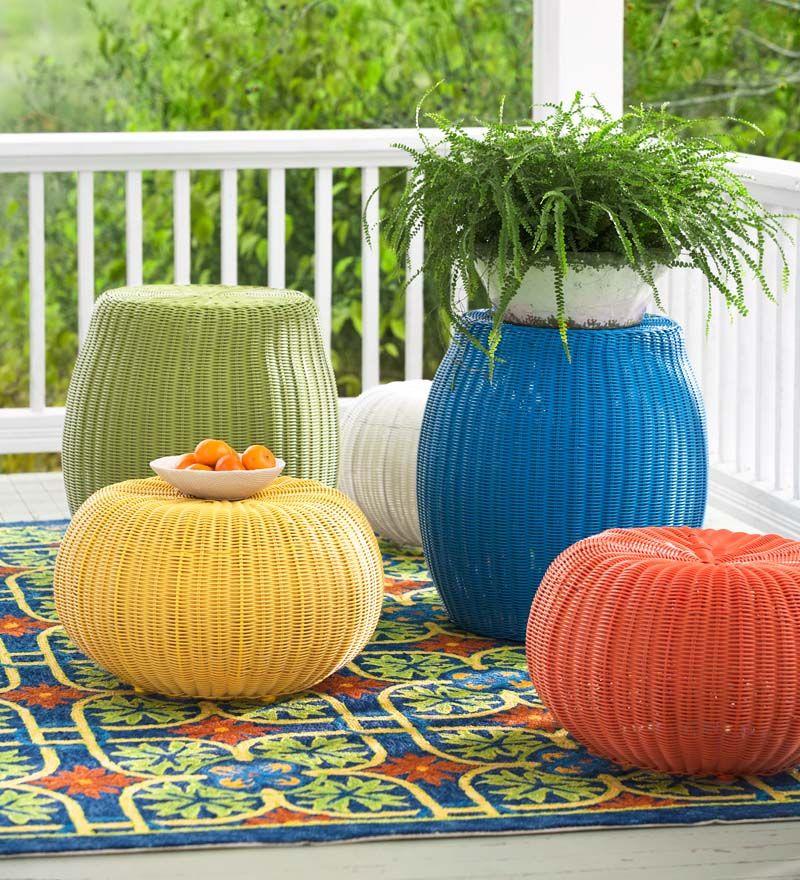 Wicker Ottoman Pouf | Outdoor Furniture | Versatile, Durable Weatherproof  Wicker Piece Is Pouf,