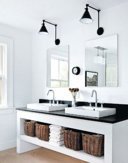 Love those double vessel sinks with the open storage on the bottom