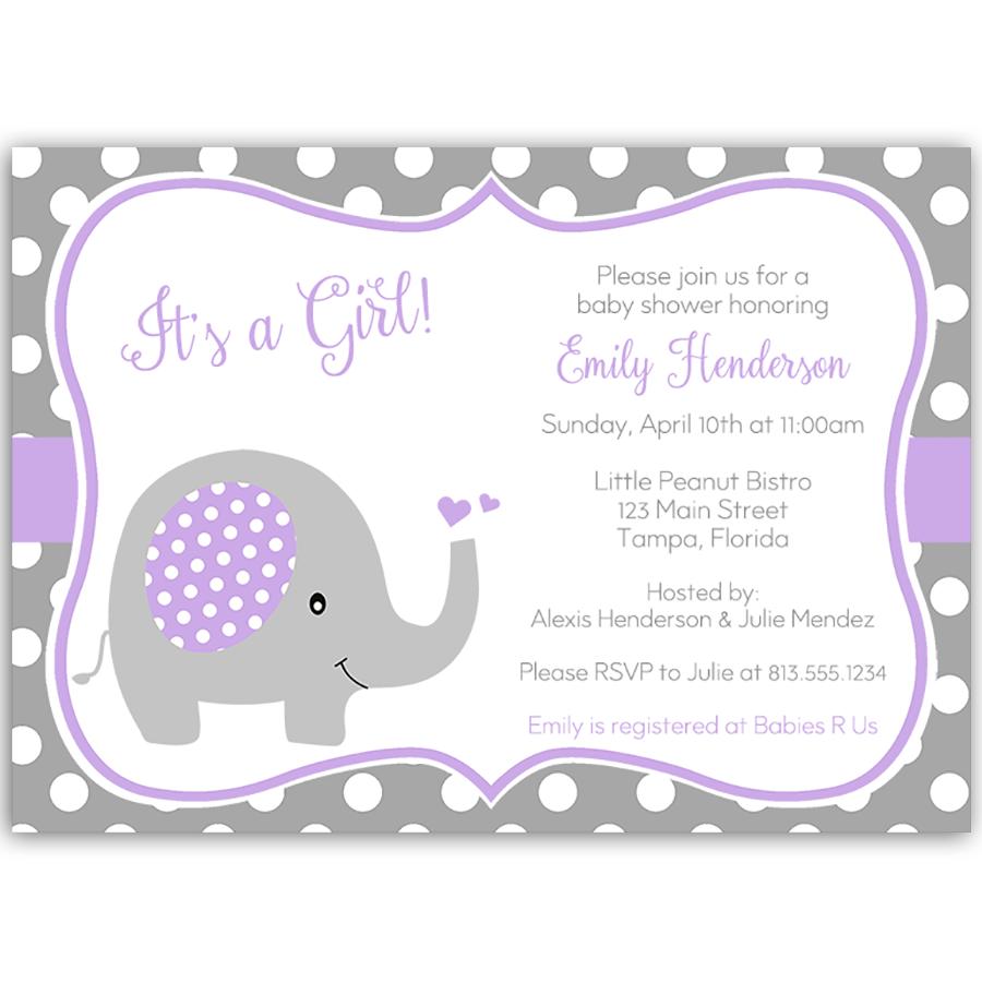 Polka Dot Elephant Purple Baby Shower Invitation | Purple baby ...