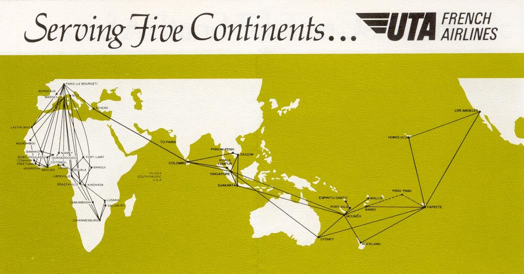UTA French Airlines Route map, Airline logo, Vintage