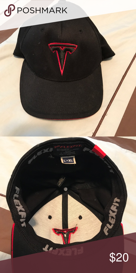 Black Tesla baseball hat size L-XL This is an authentic Tesla baseball hat  with logo embroidered on the front. It has flexfit on the inside for a snug  fit ... e74947c5d0e