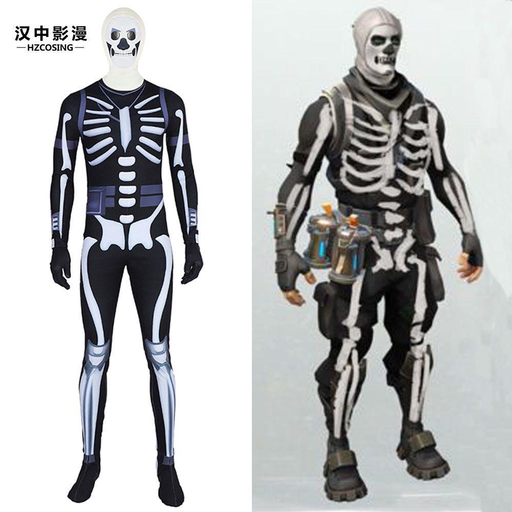 Hzym Fortnite Skull Trooper Cosplay Costume Full Suit Any Size
