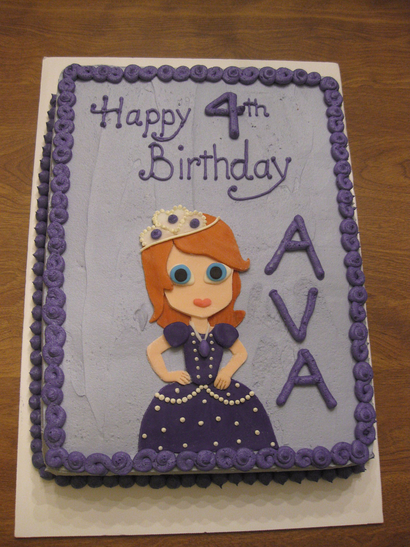 Sofia the First Sheet Cake   Happy 4th birthday, First ...