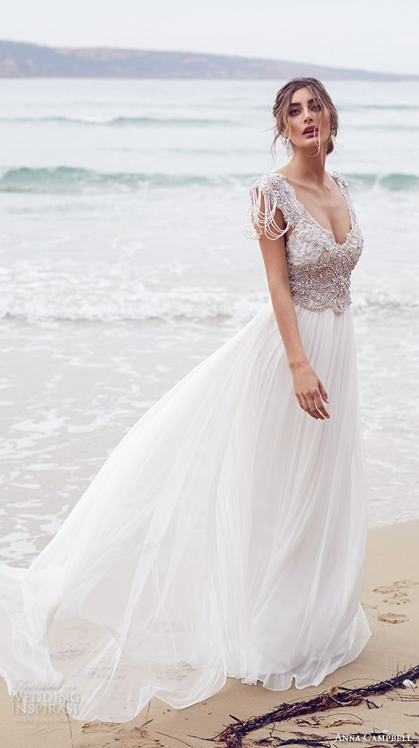 618b2129a5fa anna campbell 2015 bridal dresse cap sleeves v neckline beaded embellished  bodice pretty wedding dress with silk tulle skirt sierra