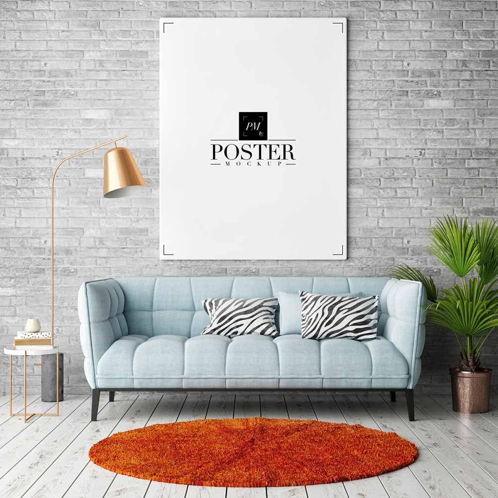 Free Room Interior Frame Poster Mockup Quadro Branco Planos De Fundo Salas