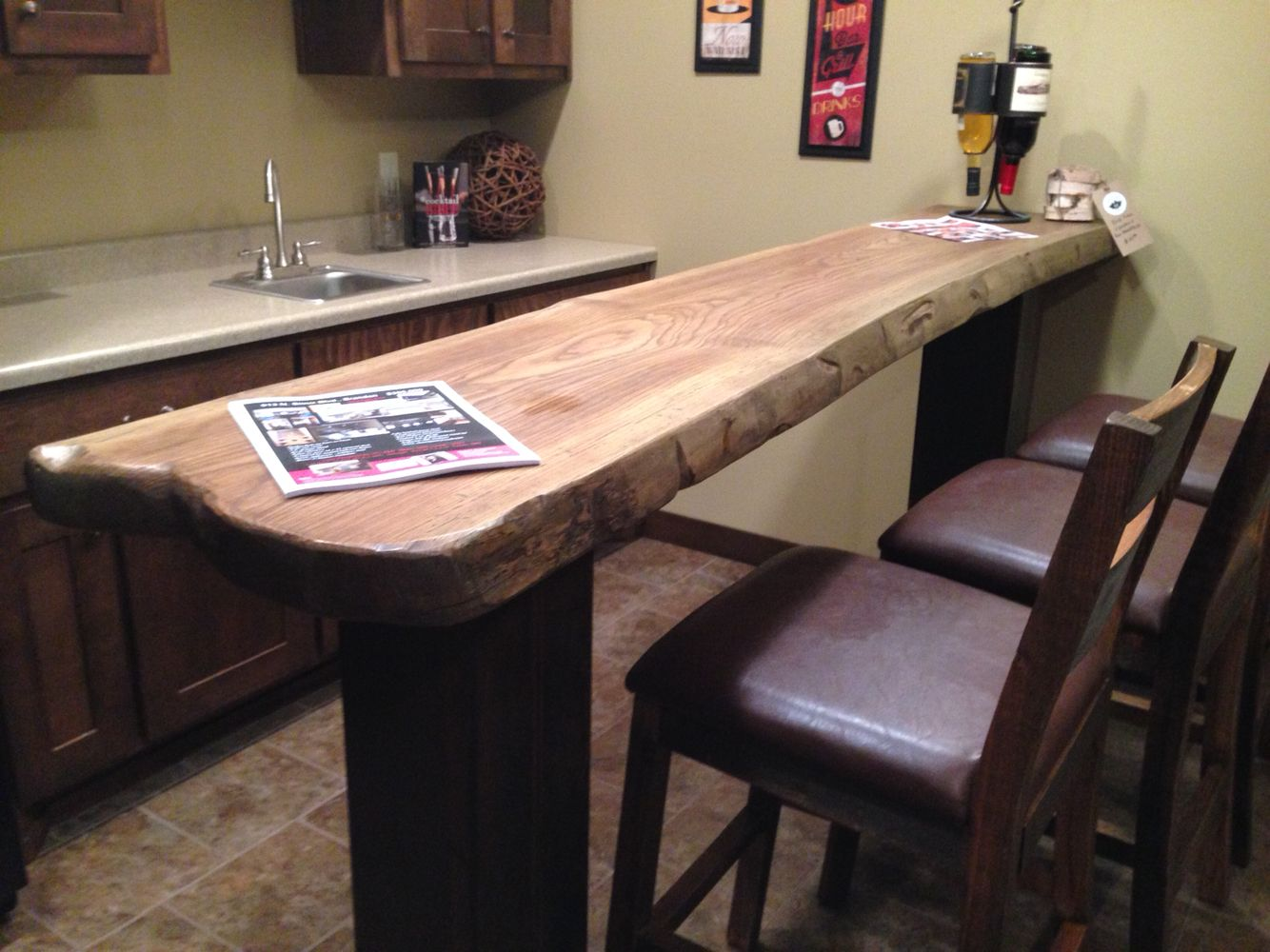 Ash bar top with metal tube legs | Log Coffee Tables and More ...