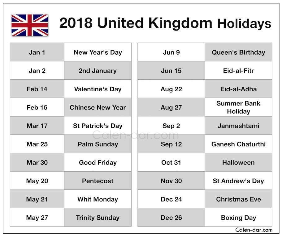 UK Holidays List 2018 (2018 UK Holidays) Uk holidays